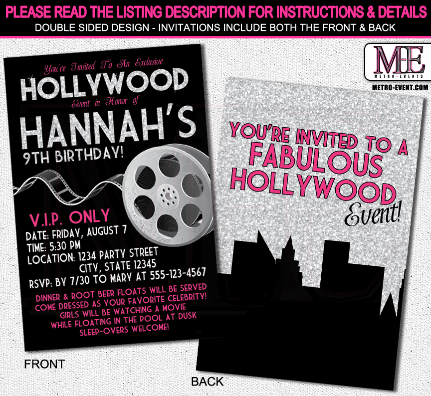Glitter and Glam Hollywood Invitations MetroEvents Party Supplies