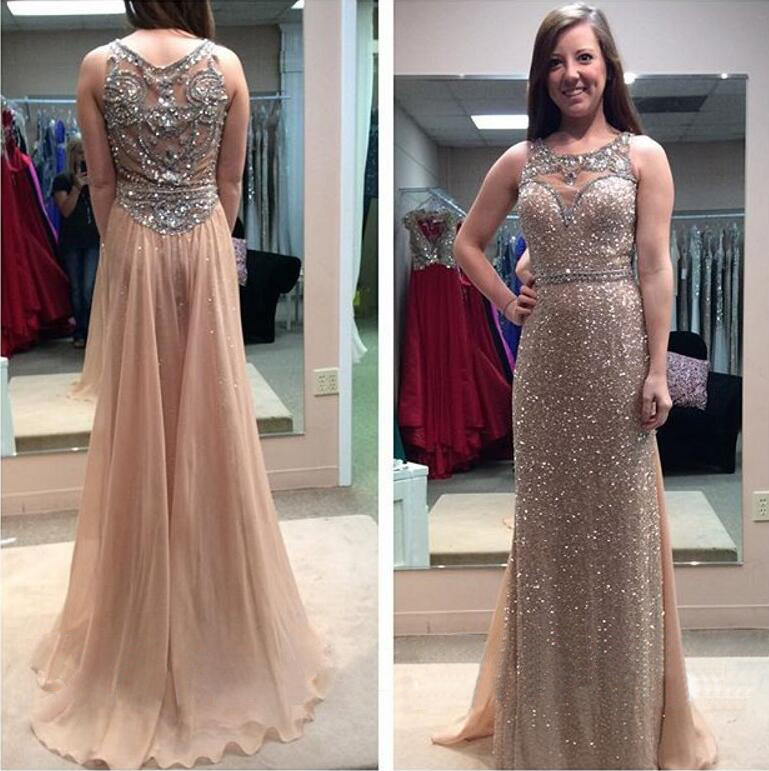 gold sequin prom dress, see through prom dress, sparkly prom dress ...