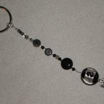 Beaded Keychain Black/Silver w/Love Charm