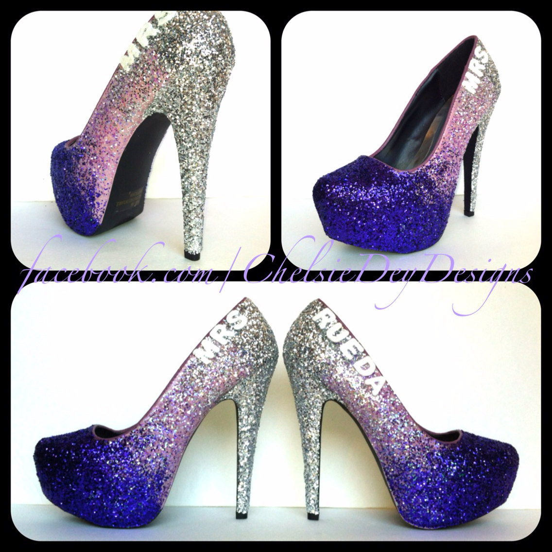 Purple Glitter High Heels   Eggplant Lilac Lavender Silver Pumps   Wedding  Last Name   Sparkly