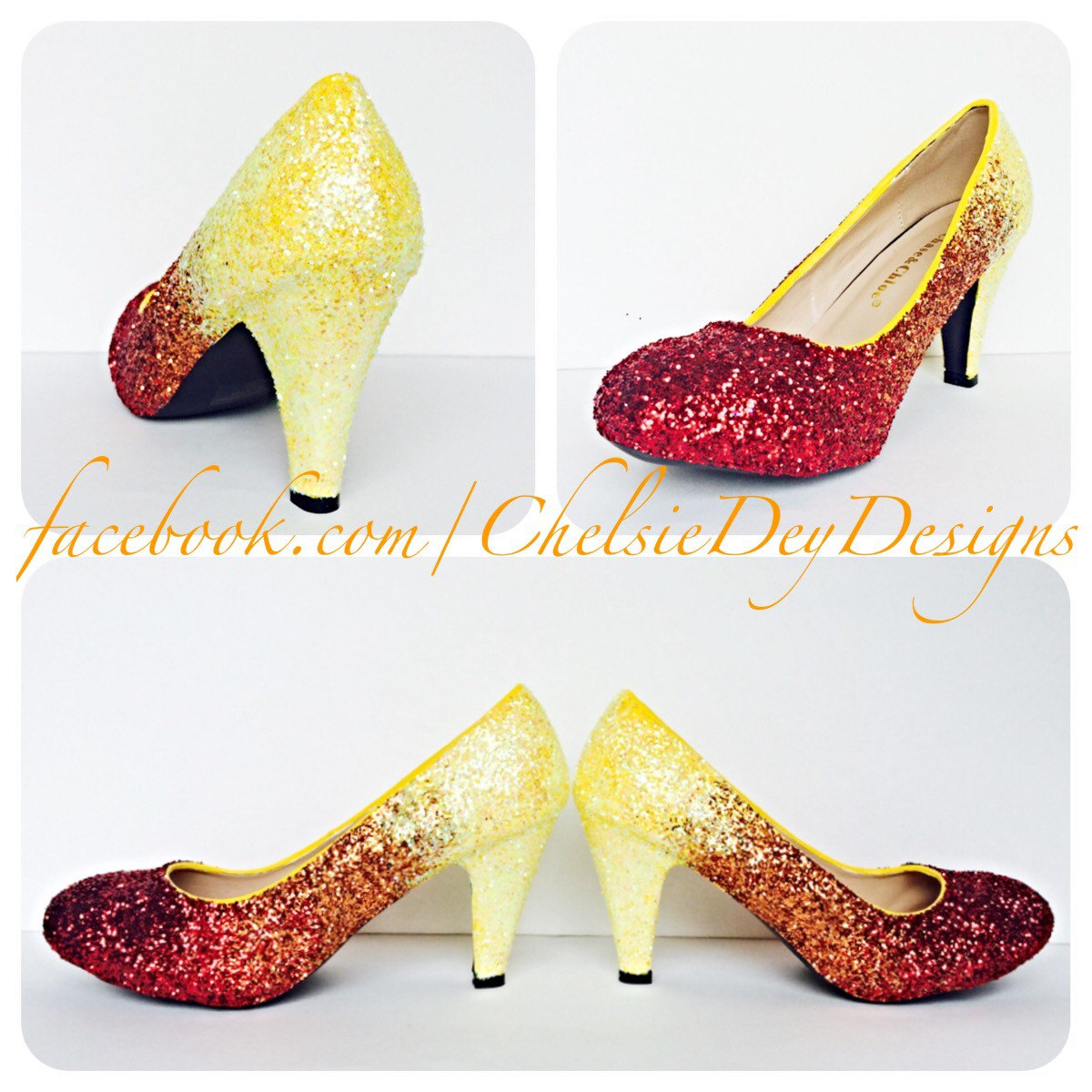 Glitter High Heels   Red Orange Yellow Ombre Pumps   Low Heel   Sparkly Wedding  Shoes