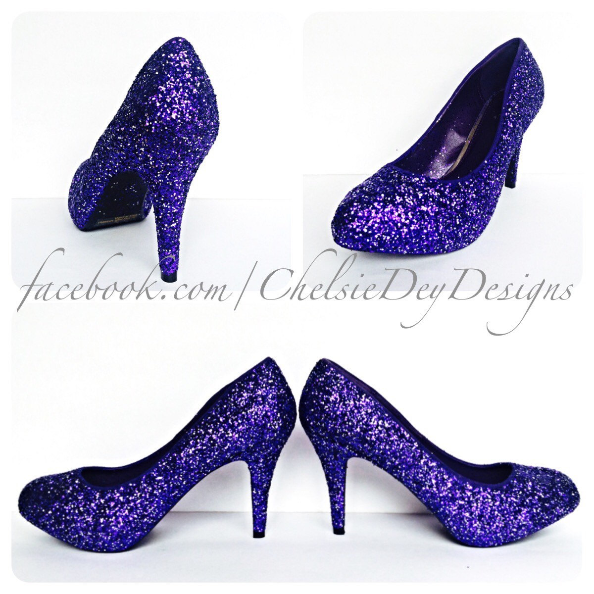 Purple & Silver Glitter Low Heels - Eggplant Royal Purple Pumps ...