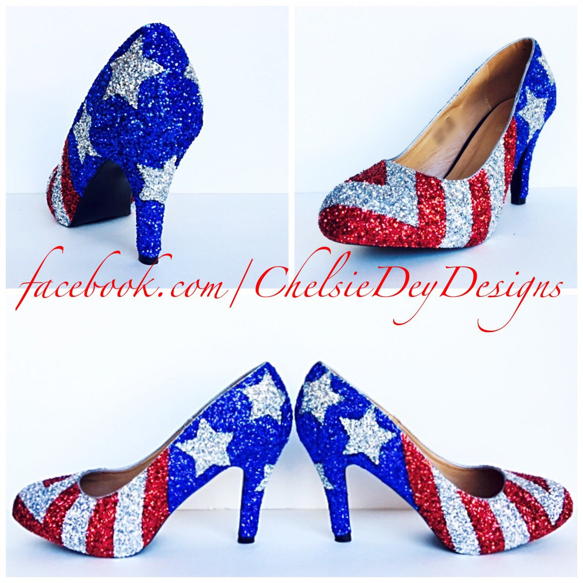 american flag high heels glitter white and blue miss