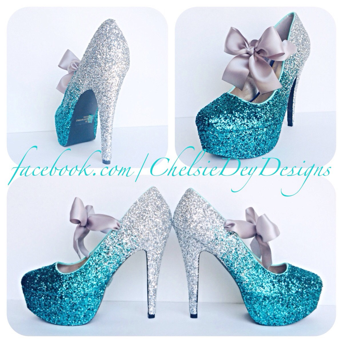 Teal Glitter High Heels - Silver Turquoise Blue Ombre Fade Pumps ...
