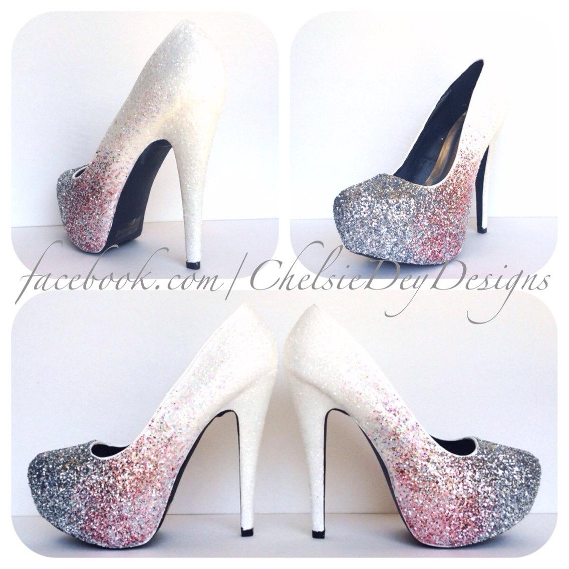 White Glitter Ombre High Heels - Pink Silver Fade Pumps - Platform ...