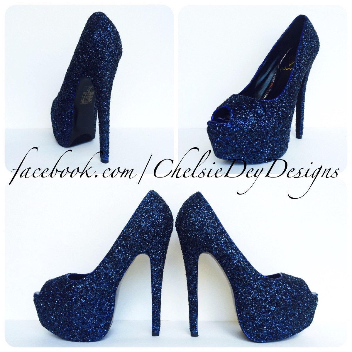 Glitter High Heels - Navy Blue Pumps - Dark Blue Peep Toe - Open ...