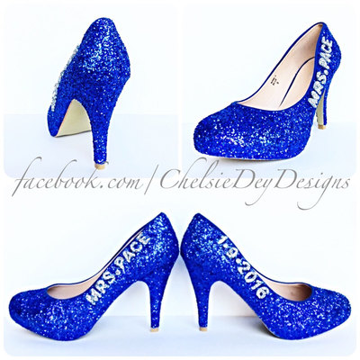 Glitter High Heels - Royal Blue and Silver Pumps - Wedding Name ...