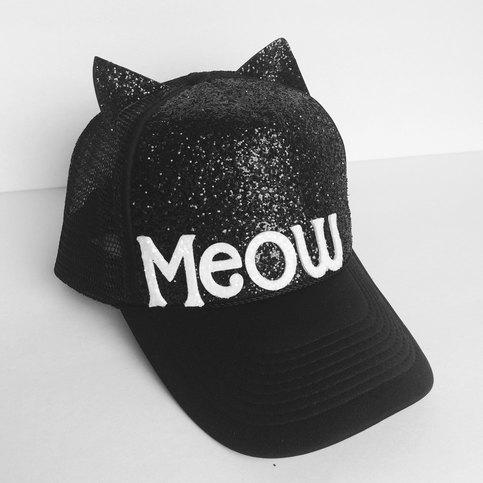 Black And White Cat Ears Meow Glitter Baseball Trucker