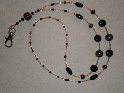 Beaded Lanyard Black/Copper