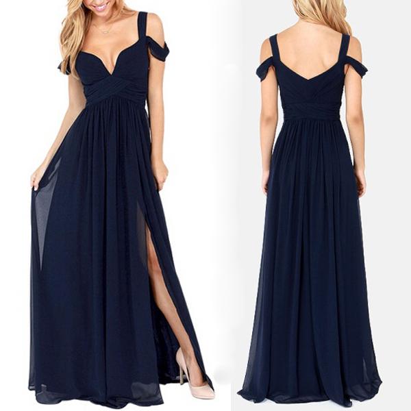Long Navy Blue bridesmaid dress, Chiffon Simple Bridesmaid Dress ...
