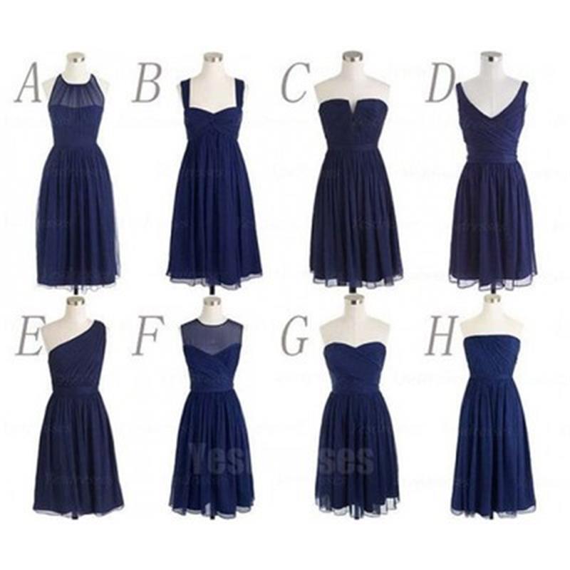 navy blue bridesmaid dresses, short bridesmaid dresses, mismatched ...
