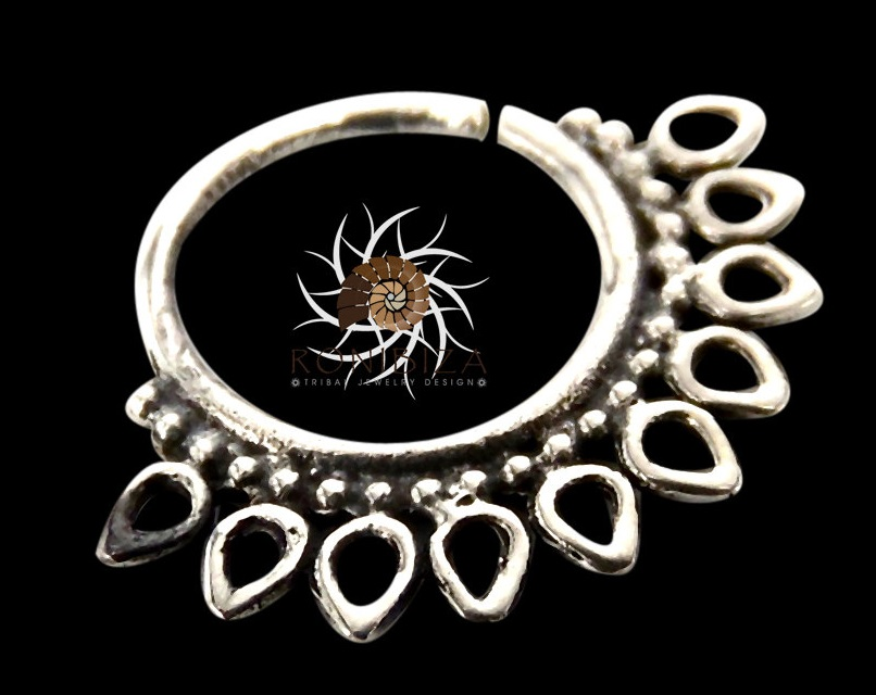 Silver Nose Ring - Silver Nose Hoop - Indian Nose Ring - Tribal ...