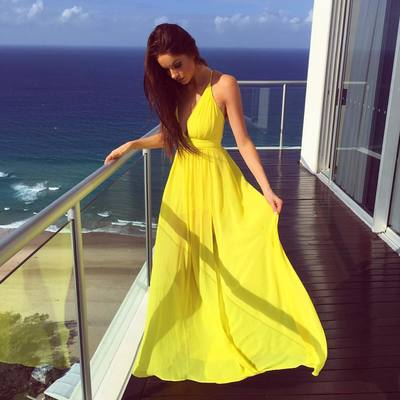 New Arrival Yellow Chiffon Prom Dress,Prom Gown Dress,Evening Formal ...