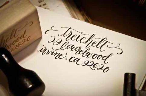 Calligraphy Address Stamp Custom All Handwritten