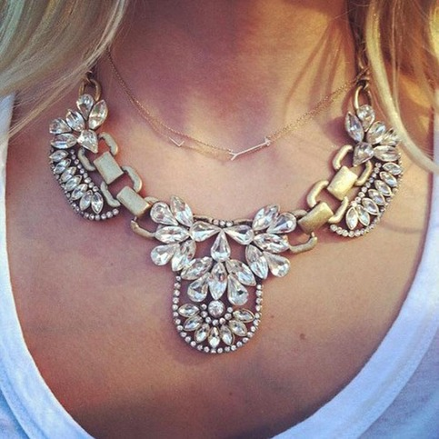 Trendy Vintage Clear Crystal Cluster Bubble Pendant Necklace