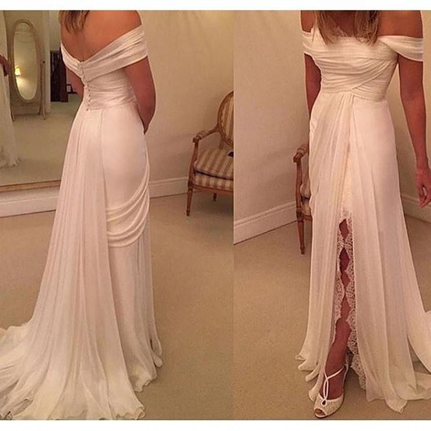 Sexy white prom dress, side split lace prom dress, cheap simple ...