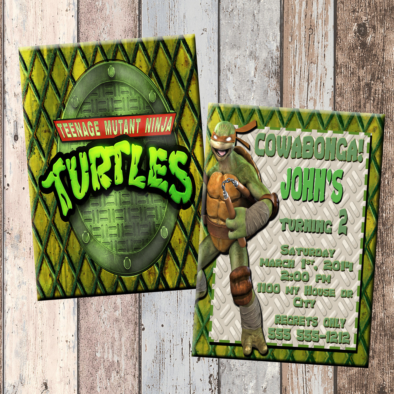 TMNT Ninja Turtles Personalized Birthday Invitation 2 Sided Card Party