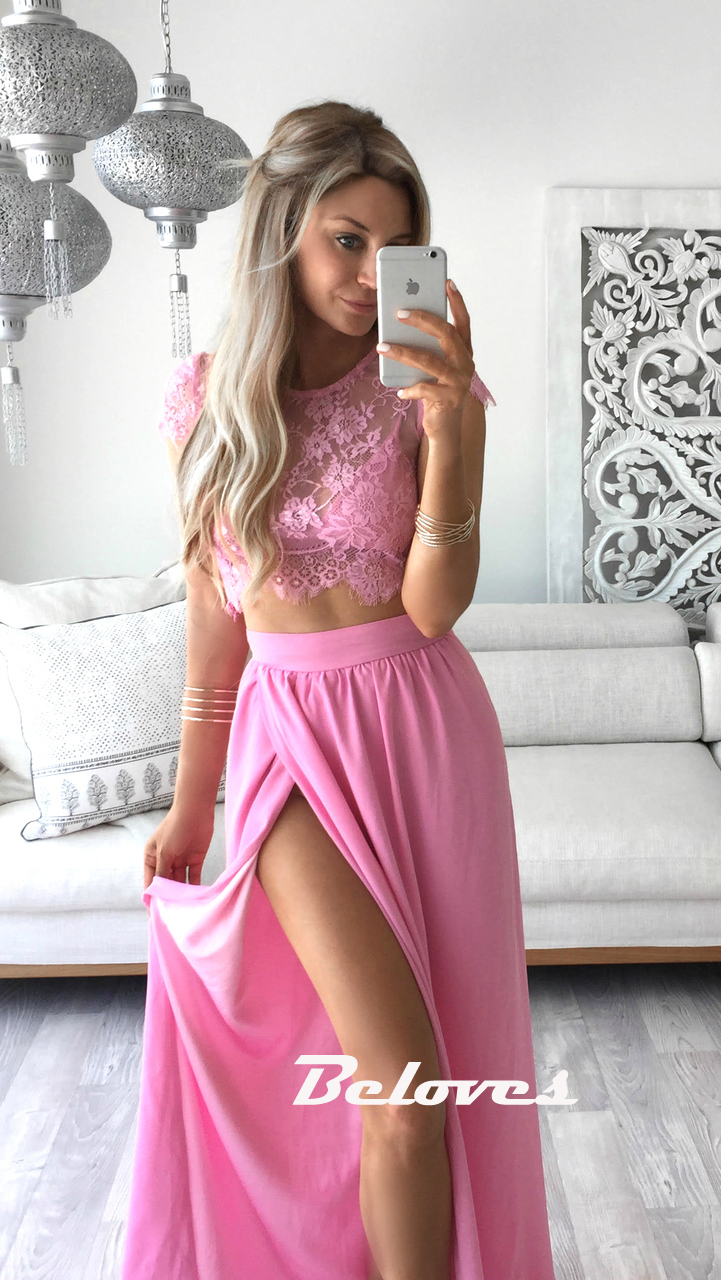Pink High Slit Two Piece Prom Dress With Lace Top · Beloves · Online ...