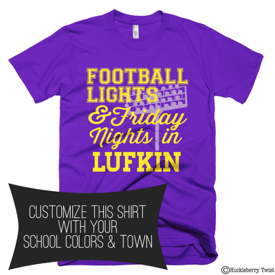 Football lights and friday nights purple and yellow for T shirt printing in lufkin tx