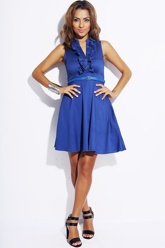 A Line Ruffled Collar Sundress Royal Blue