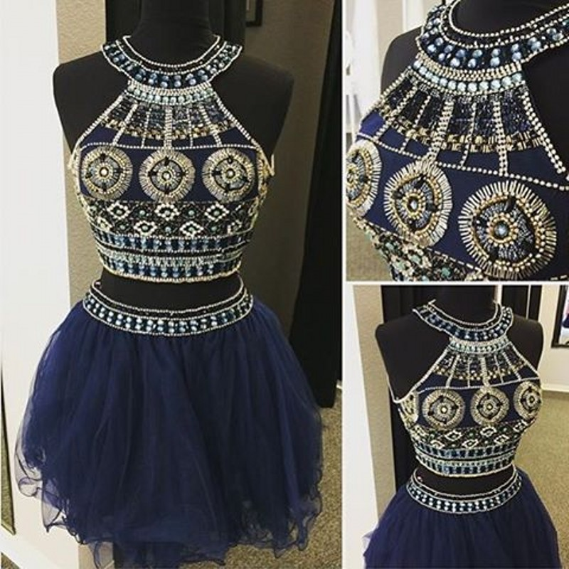 Dark Navy Two Pieces A-Line Homecoming Dress,Short Prom Dresses ...