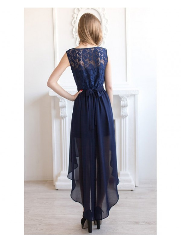 Long prom dress,high low prom dresses, navy blue prom dresses, lace ...