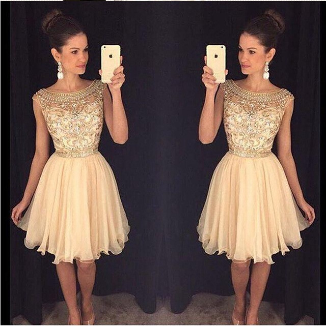 Beaded Homecoming dress, See through prom dress, Short chiffon prom ...