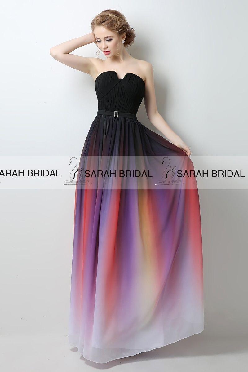 Gradient Ombre Maxi Chiffon Long Formal Prom Dress, Cocktail Dress ...