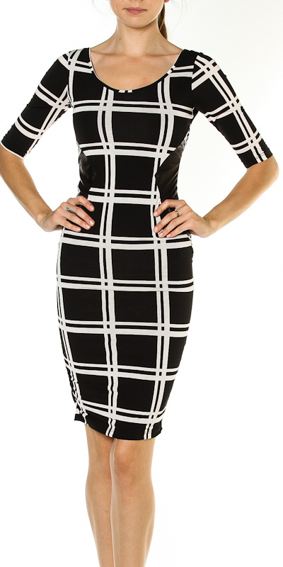 Square Print Leather Sides Pencil Dress 183 Sophisticates Closet 183 Online Store Powered By Storenvy