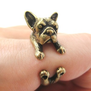 French Bulldog Puppy Animal Wrap Ring in Bronze - Sizes 4 to 9 Available
