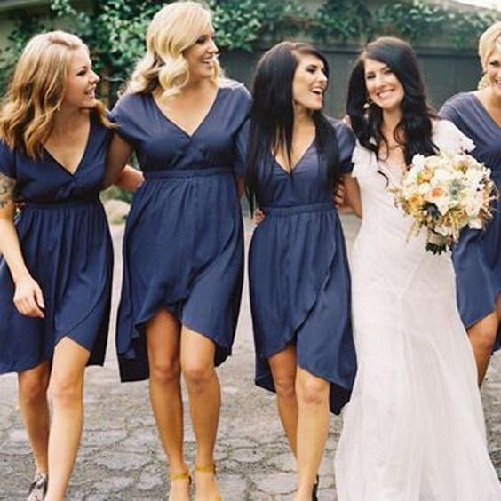 Navy Blue Bridesmaid Dress | Short Bridesmaid Dress Navy Blue Bridesmaid Dress Chiffon Bridesmaid
