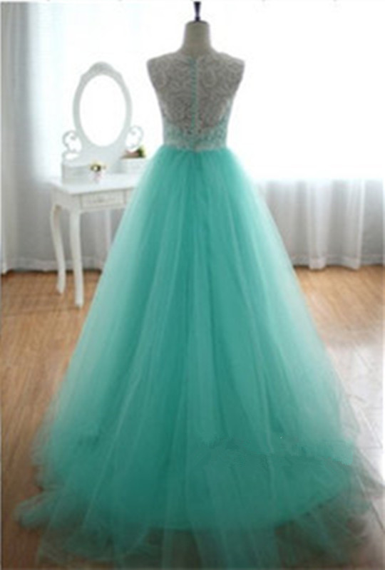 P12 O Neck Lace Top Cheap Tulle Long Prom Dress, Mint Green Prom ...