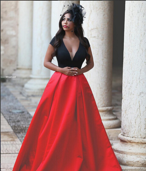 A Line Deep V Neck Long Coral Silk Beaded Evening Prom Dress