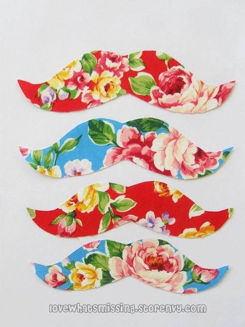 Floral Mustache Iron on Applique- 4 pack