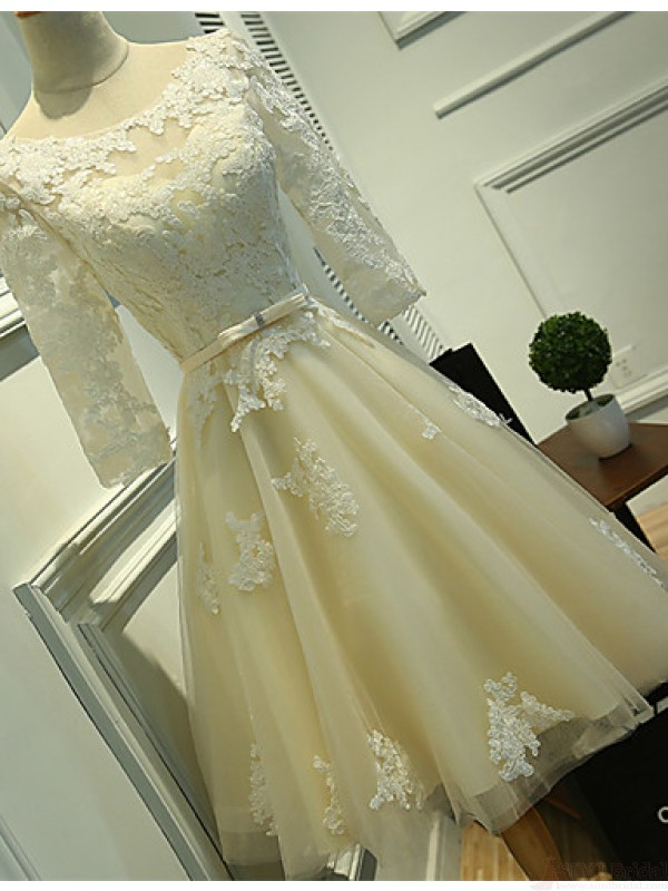 Long Sleeves Ivory Lace Tea Length Wedding Dresses, Cheap Beach ...