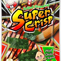 Super Crisp Grilled Seaweed Hot Chili Squid Flavor 12g Bag by Tao Kae Noi