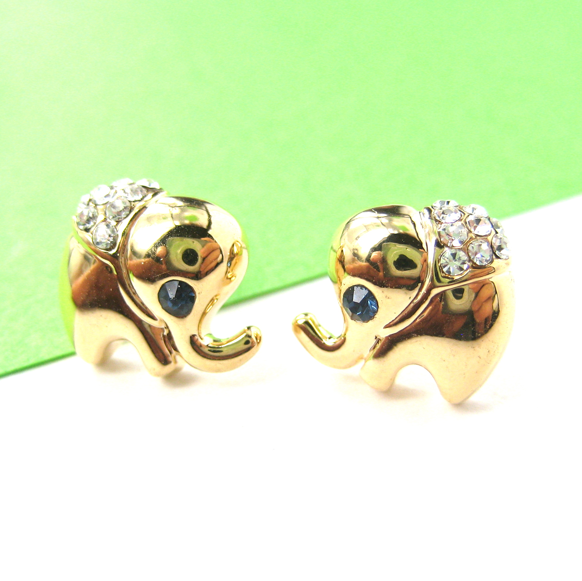 Cute and Small Elephant Animal Stud Earrings in Gold with ...