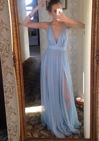 Sky Blue Floor Length Deep V neck Prom dress, FS201 ...
