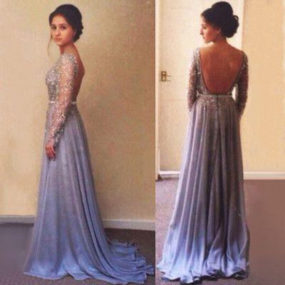 Charming Prom Dress,Chiffon Prom Dress,Long-Sleeves Prom Dress ...