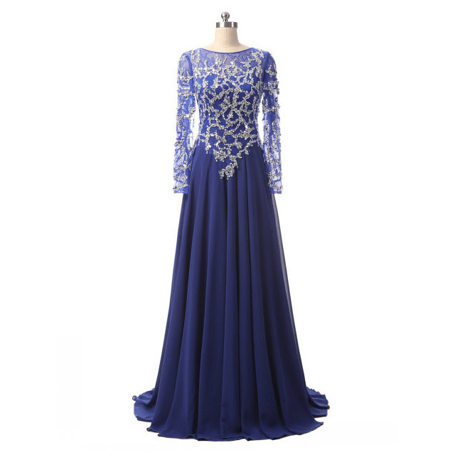 Long Sleeve Royal Blue Tulle Prom Dresses, Illusion Neck Lace Prom ...