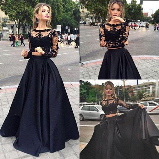 Black 2pieces Lace Long Sleeve Prom Dressformal Dresses Dreamy
