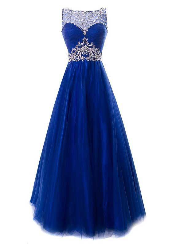 Gorgeous Beaded royal blue long Prom dress, vintage Princess tulle ...