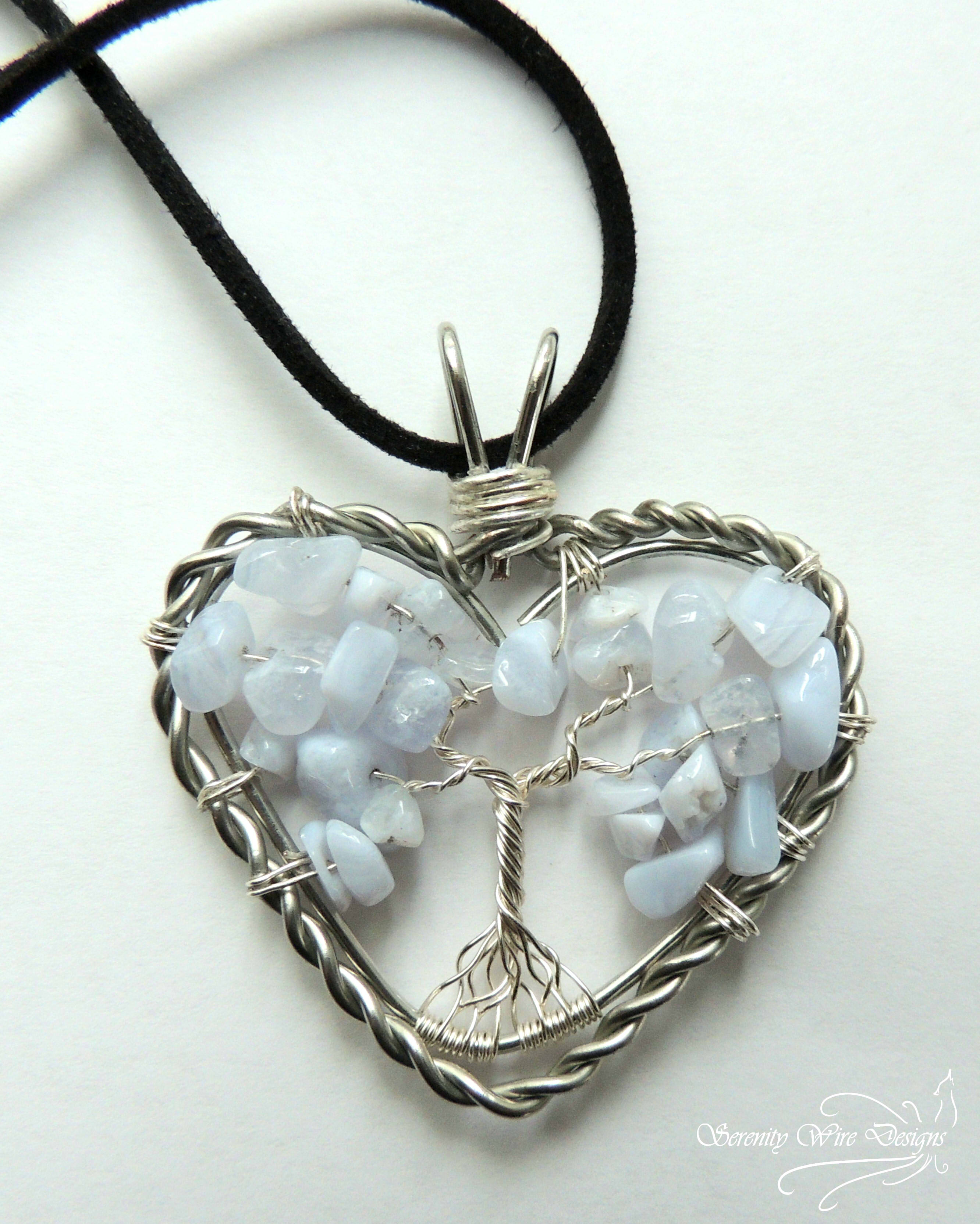 Blue Lace Agate Heart Tree of Life Pendant · Serenity Wire Designs ...