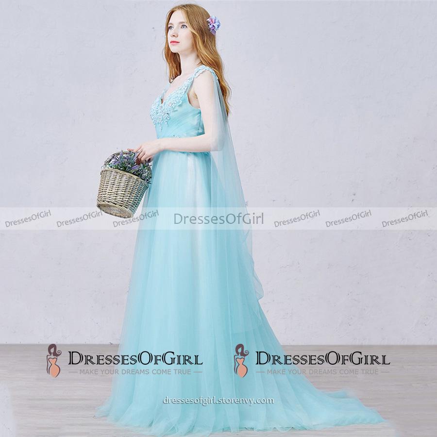 Fairytale A-line V Neck Ice Blue Long Prom Dress, Princess Empire ...
