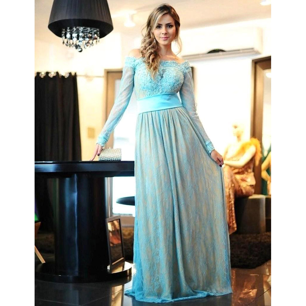 Vintage Off the Shoulder Ice Blue Long Prom Dress, Long Sleeved Lace ...