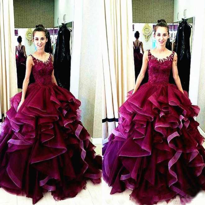Charming Burgundy Ball Gown Long Prom Dress, Scoop Neck Lace ...