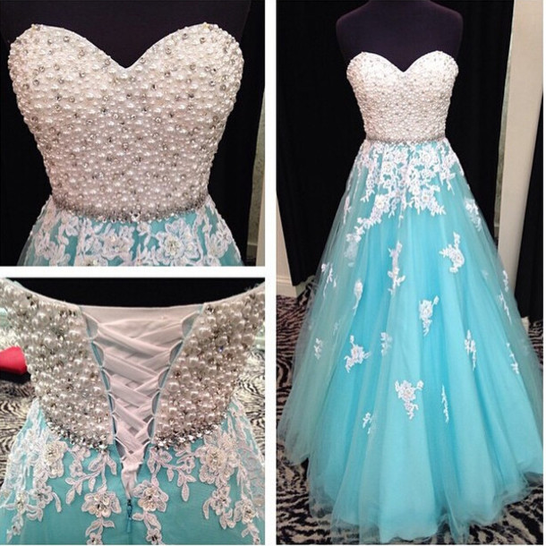 Fashion Prom Dress Prom Dresses with Pearls · bbpromdress · Online ...