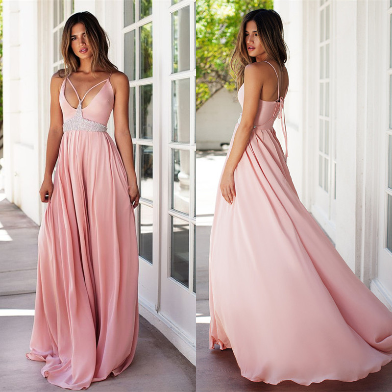 Beautiful Prom Dresseslong Prom Dresspink Prom Dress Chiffon Sweet