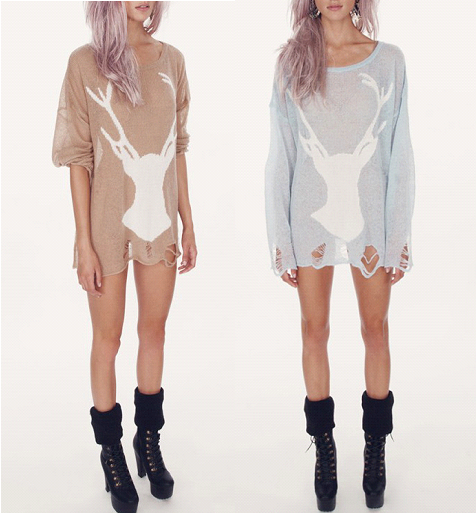 Distressed Oversized Deer Sweater Dress · Poison · Online Store ...