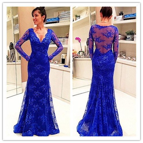 Royal Blue Lace Prom Dress Prom Dresses Evening Party Gown Formal ...